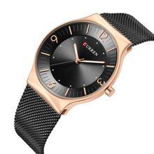 CURREN Top Brand Wristwatch Black Stainless Steel Smart Watch Unisex Quartz Waterproof Rose Gold Dial Sport Hardlex