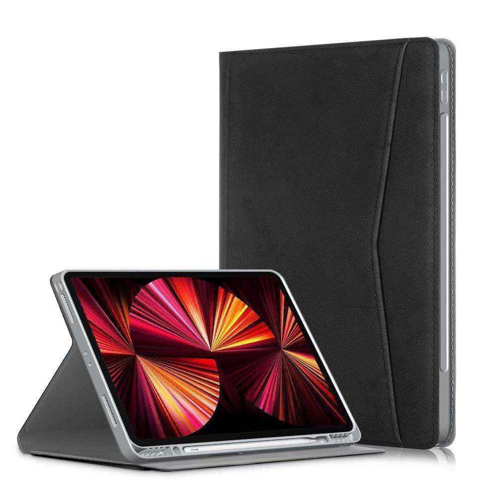 black BLACK Portfolio Case for iPad Pro 11 2021 2020 2018 Multi Angle Viewing Premium Leather Auto Sleep