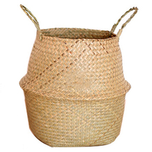 New Foldable Straw Storage Handmade Bamboo Simple Decoration Seaweed Wicker Baskets Dirty Laundry Planter Plant Basket