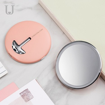 Jordan&Judy 1pc Mini Makeup Mirrors Portable Folding Cosmetic Tools With LED Magnification Round Mirror For Travel Bathroom Gift 1
