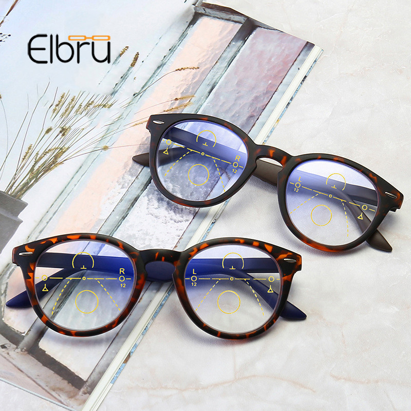 Elbru Anti Blue Light Reading Glasses Men Progressive Multifocal Glasses Women Near Far Sight Round Frame Eyeglasses Diopter