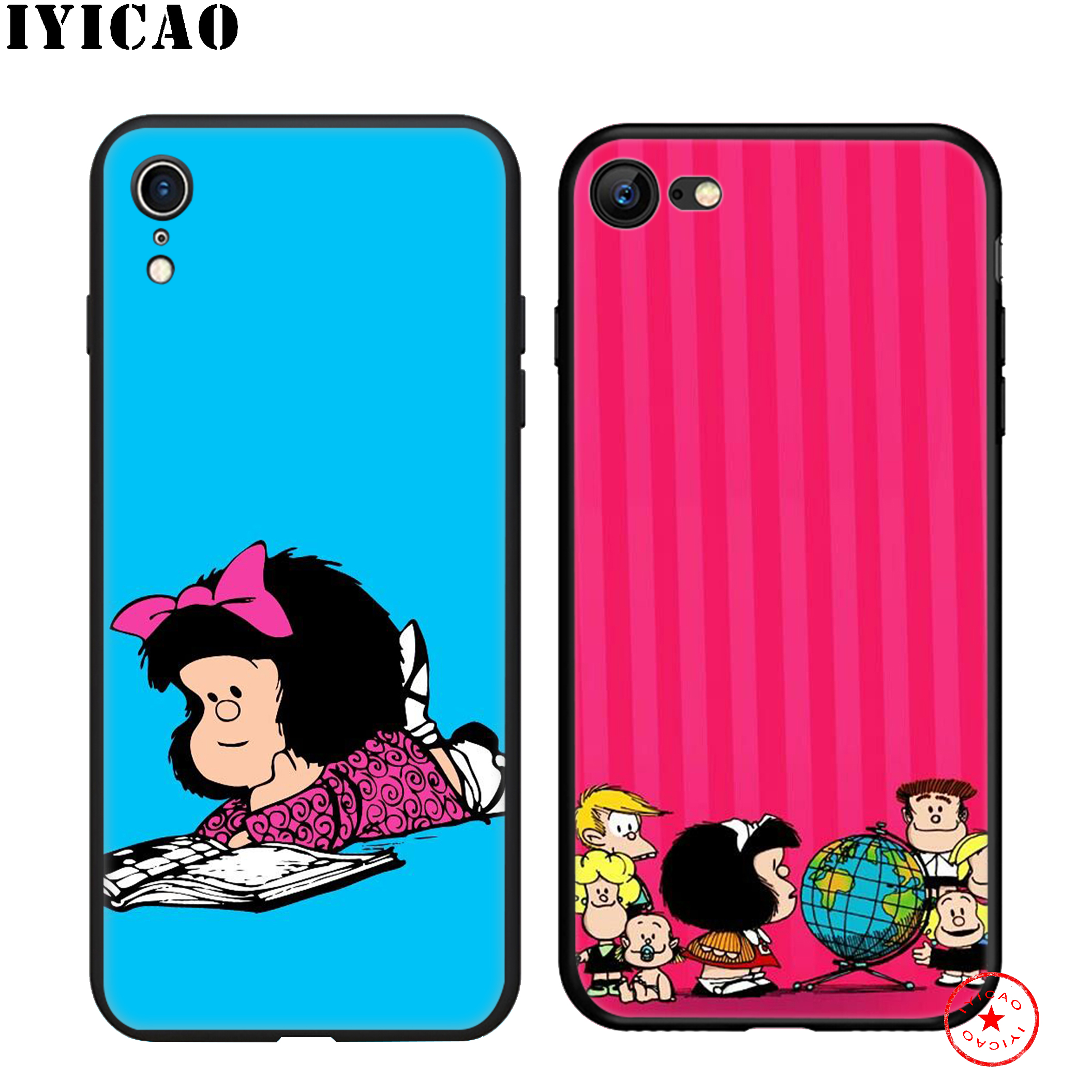 IYICAO Lovely Mafalda Soft Black Silicone Case for iPhone 11 Pro Xr Xs Max X or 10 8 7 6 6S Plus 5 5S SE in Fitted Cases from Cellphones Telecommunications