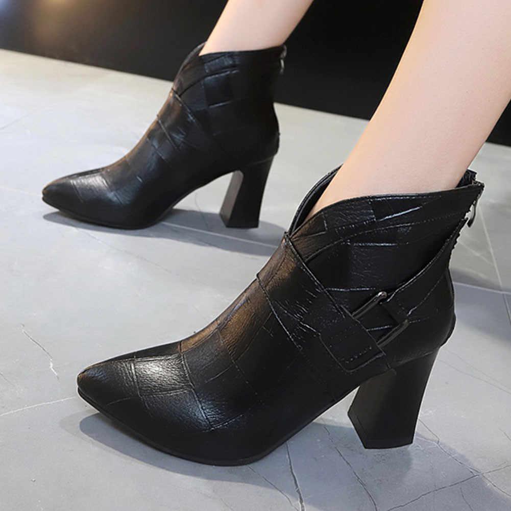 BONJOMARISA sıcak satış bayanlar Retro pilili çizmeler moda sivri burun bahar yarım çizmeler kadınlar yüksek topuklu OL ayakkabı kadın