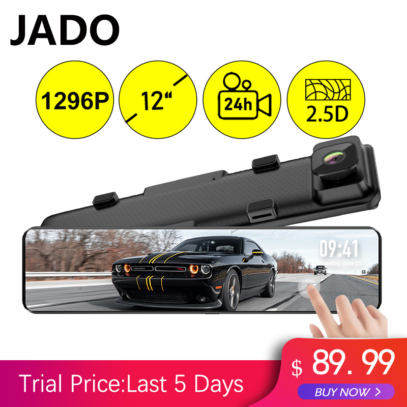 JADO 12 Inches Touch Screen Rearview Mirror Dash Cam 1296P Car DVR Stream Media Dash Cameras Front And Rear Car Camera Recorder(China)