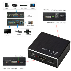 Sec Новинка 4 K X 2 K HDMI аудио экстрактор + Optische TOSLINK SPDIF + 3,5 мм стерео аудио экстрактор конвертер HDMI аудио сплиттер