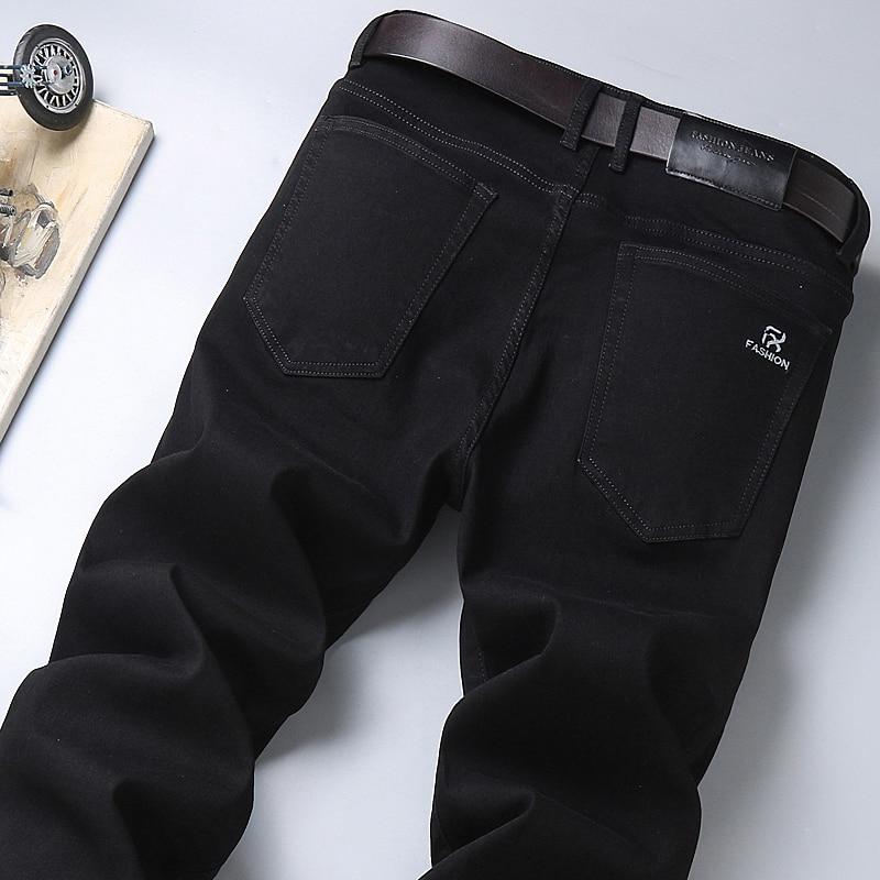 Осень 2020 новые мужские чисто черные Бизнес Джинсы классический стиль регулярные Fit Стрейчевые джинсовые брюки модные повседневные Брендовые брюки|Джинсы|   | АлиЭкспресс