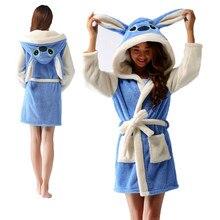Roupão de banho de ponto azul com capuz roupão de banho feminino dos desenhos animados homewear animal quente flanela roupão de banho robes macios sleepwears kigurumi