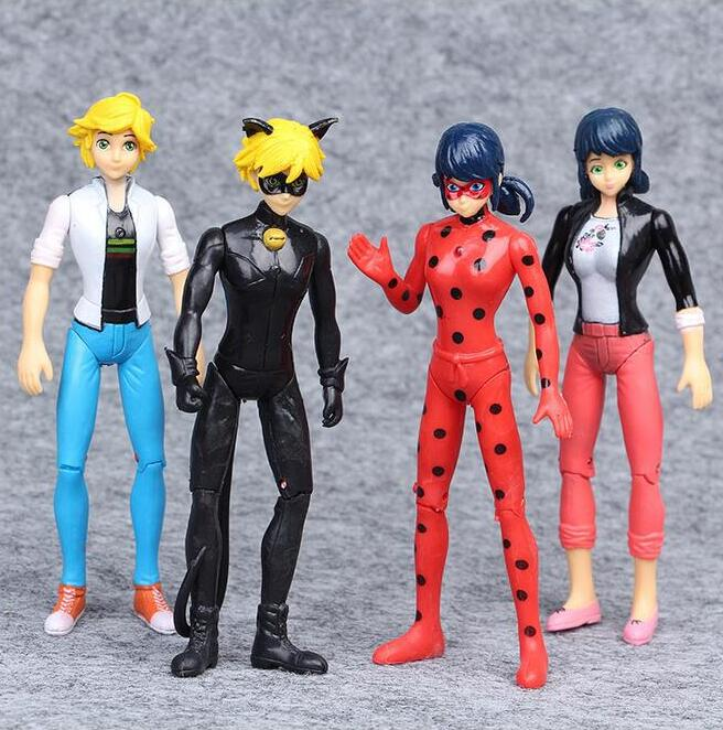 4pcs/lot Ladybug Lady Bug Doll Action Figure Toys Cute Anime Adrien Marinette Plagg Tikki PVC Figure