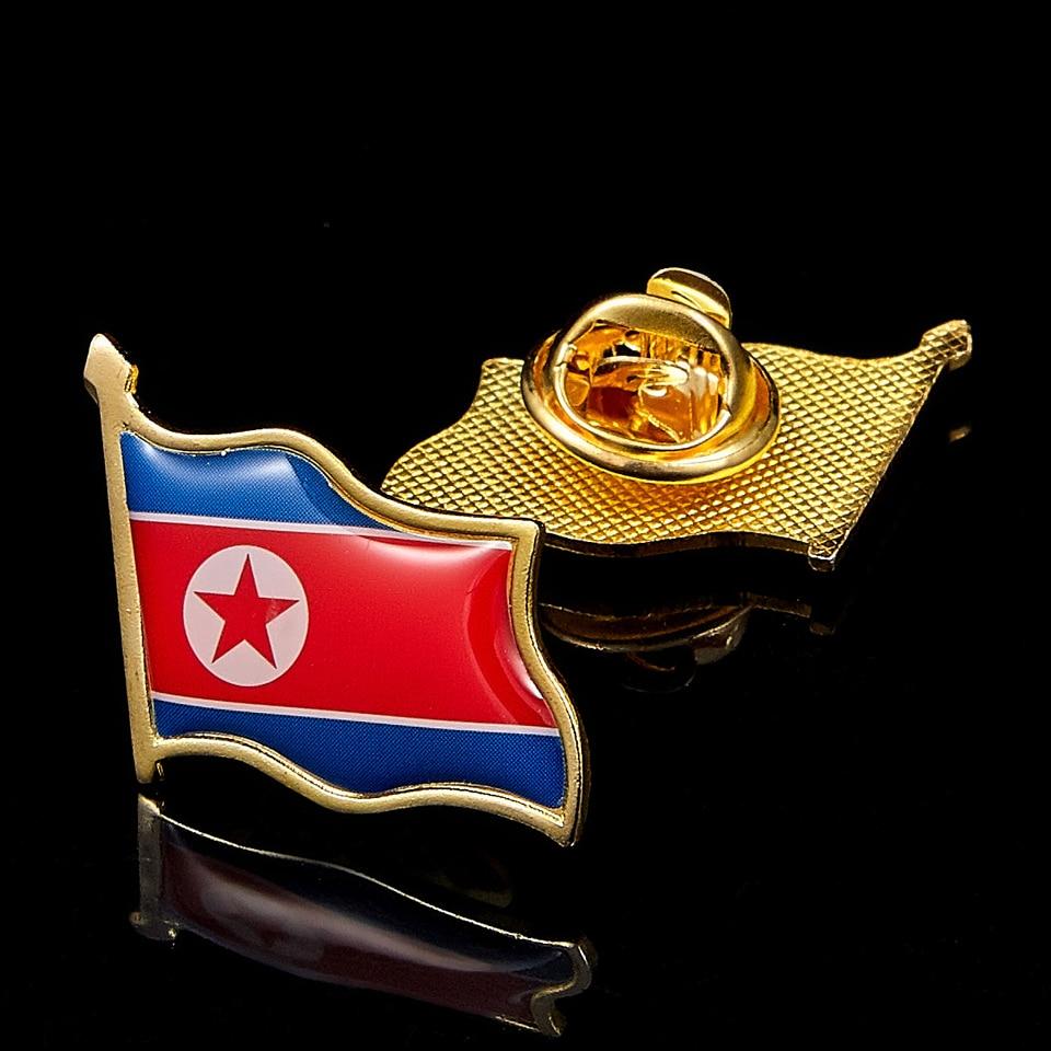 """شارة بدبوس طية صدر السترة كوريا الشمالية مع نجمة بيضاء 0.75 """"* 0.83"""" دبابيس الأمة النادرة الجميلة"""