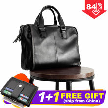 2019 New Natural Cowskin 100% Genuine Leather Men's Briefcase Fashion Large Capacity Business bag Black Male Shoulder Laptop Bag(China)