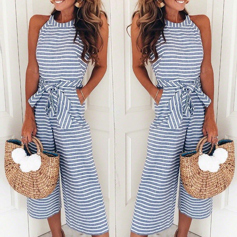 Lyprerazy Women Striped   Jumpsuit   Holiday Belted Leotard Overalls Elegant Sexy   Jumpsuits   Loose Trousers Wide Leg Pants Rompers