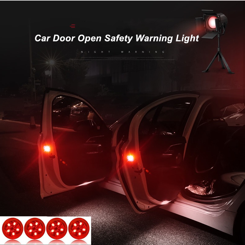 4pcs/set 5 LEDs Car Door Opening Warning Lights Wireless Magnetic Design Strobe Flashing Anti Rear-end Collision Safety Lamps