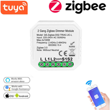 Tuya Smart Zigbee Dimmer Switch No Neutral 2 Gang Zigbee Dimmer Module Wireless Light Switch Relay Work With Alexa Google Home