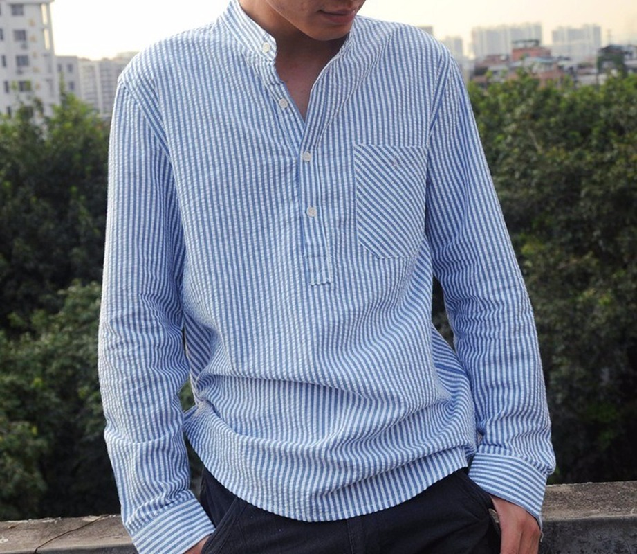 Helisopus New Mens Dress Shirts Long Sleeve Polyester Striped Shirt Spring Autumn Casual Loose Stand Collar Pullover Tops