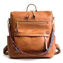Women Leather Backpack Students School Bag Large Backpacks Multifunction Travel Bags Pink Vintage Back Pack цены