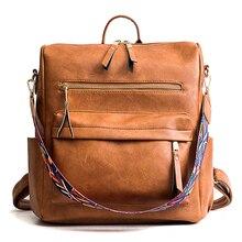 Women Leather Backpack Students School Bag Large Backpacks Multifunction Travel Bags Pink Vintage Back Pack
