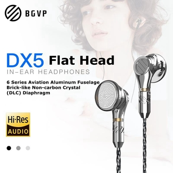 BGVP DX5 Flat Head Earbuds Earphone Monitor Fever HiFi Heavy Bass Music Headset Hi-Res MMCX High Quality DIY Earbuds with Mic