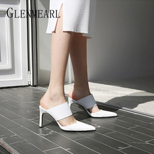 Women High Heels Mule Shoes PU Leather Black And White Pumps Thin Heels Slippers Pumps Brand Sexy Point Toe Shoes Slide Women DE apricot contrast point toe pu heeled slippers