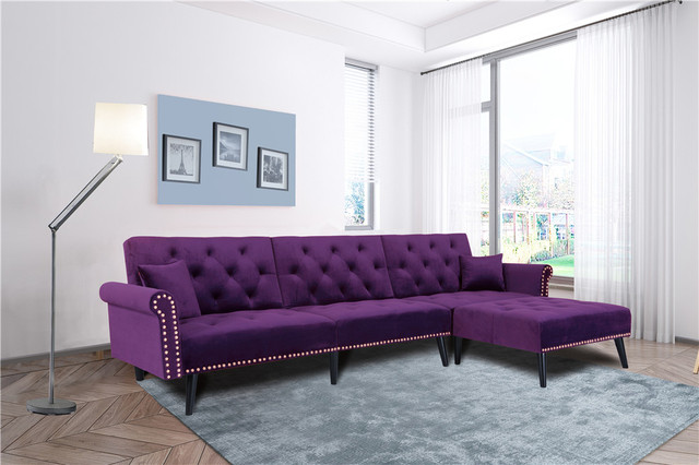 Purple L Style Chaise Lounge Sofa 2