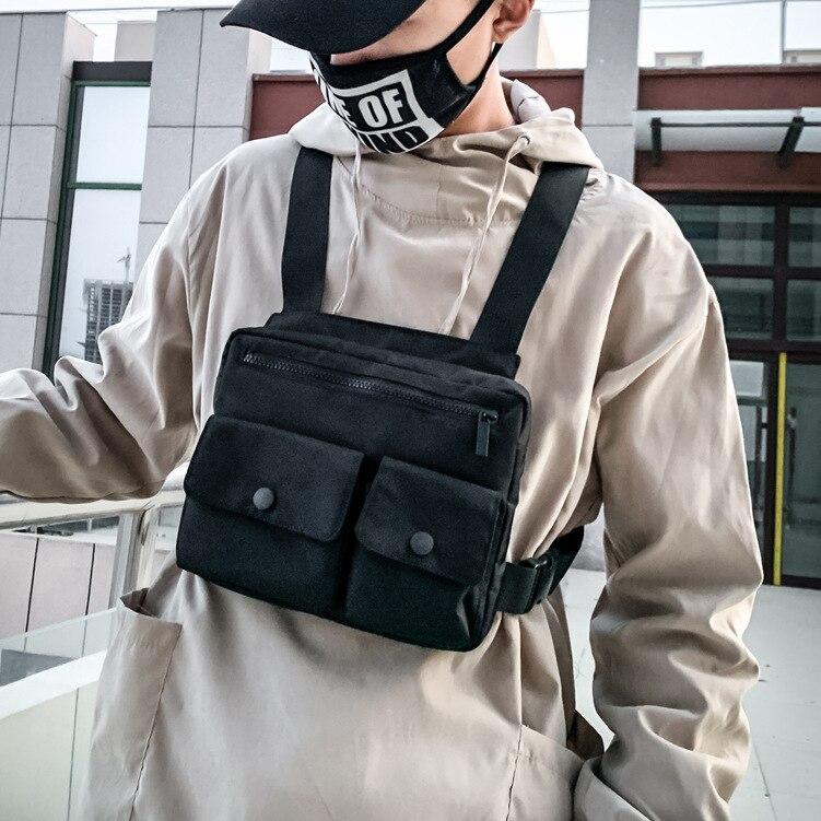 Men Tactical Vest Waist Bag Hip-hop Chest Rig Bag For Men Male Abdomon Bags Canvas Fanny Pack Chest Purse Streetwear Kanye