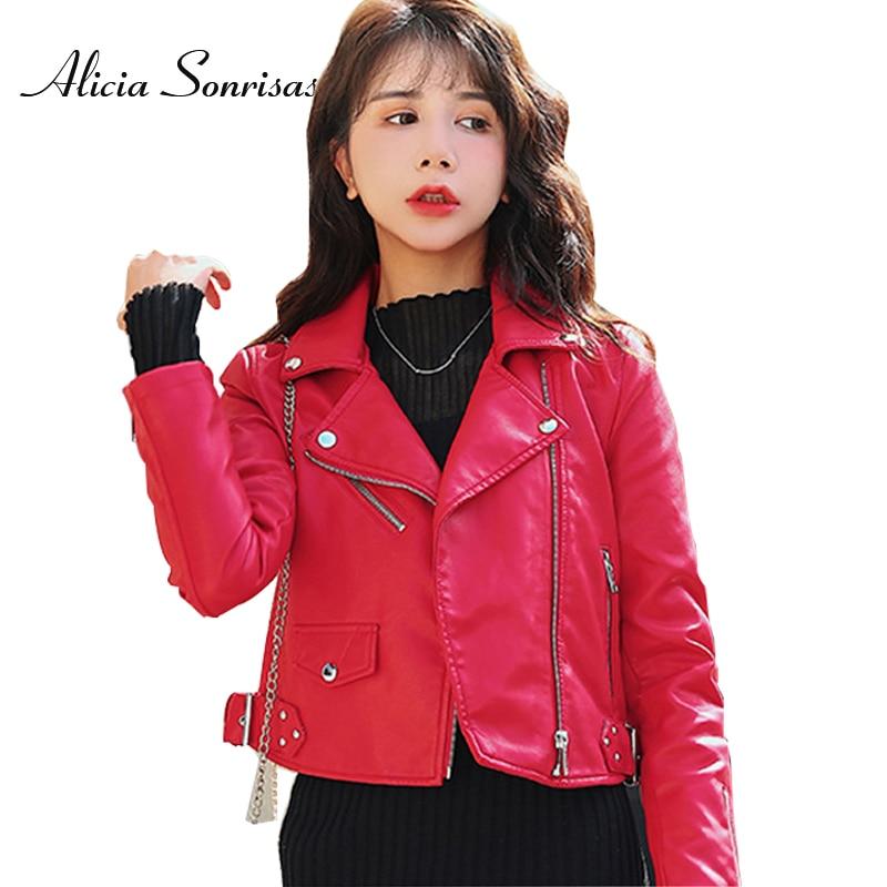 Leather   Jacket Women Fashion Classic Pu Motorcycle Faux   Leather   Biker Jacket Lady Short Rivet Basic Coat Female Soft Outerwear