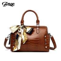 ZMQN Bolsa Feminina 2019 Women Handbag Crocodile Boston Shoulder Bag For Women Hand Bags New Ribbon Leather Handbags Ladies C691