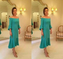 Simple Off Shoulder Mother Of The Bride Dresses With 3/4 Long Sleeve Tea-Length Short Formal Evening Prom gown