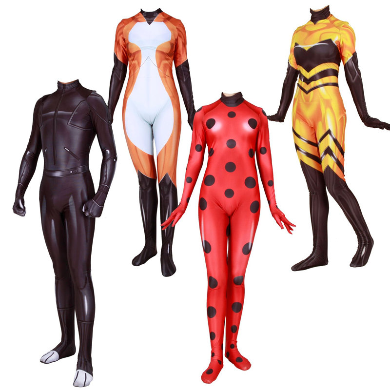 Anime Queen Bee Ladybug Costume Marinette Adrien Cat Noir Cosplay Zentai Jumpsuit Bodysuit Halloween Carnival Outfit Kids Adult