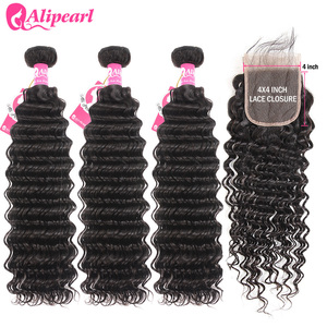 Deep Wave Human Hair Bundles With Closure 4x4 Free Part Pre Plucked Peruvian Bundles With Closure Remy Hair Extension AliPearl