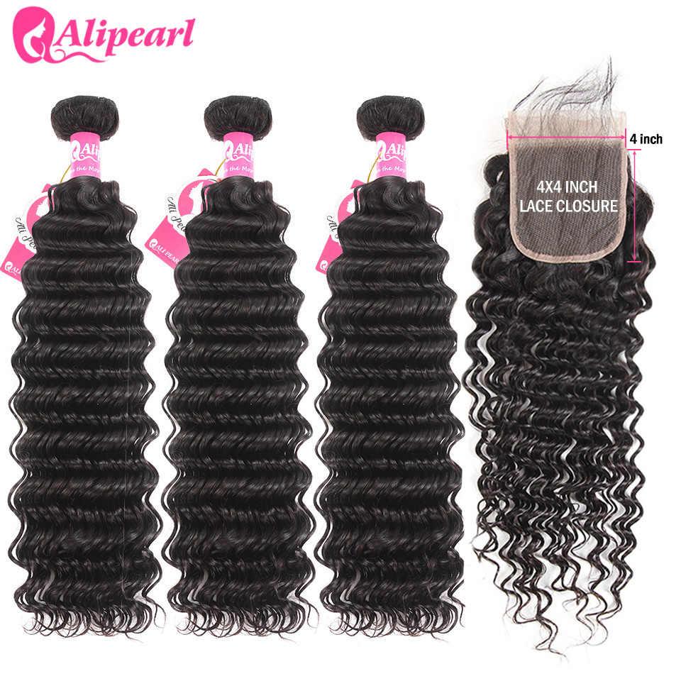 Extensiones de cabello humano de onda profunda con cierre 6x6, manojos brasileños pre-arrancados con cierre, extensión de cabello Remy AliPearl