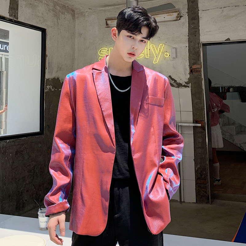 Men Autumn Vintage Fashion Shining Loose Casual Red Blazer Coat Male Streetwear Hip Hop Party Stage Suit Jacket Outerwear
