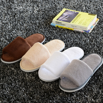 High Quality Coral Fleece Hotel Slippers Five-star Hotel Thick Bottom Slippers Soft Coral Fleece Home Slippers Guest Serving