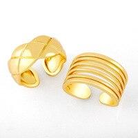 2021 nuevo cobre ajustable anillos abiertos para dedos Simple geometría Color dorado anillo Unisex joyería de moda regalos