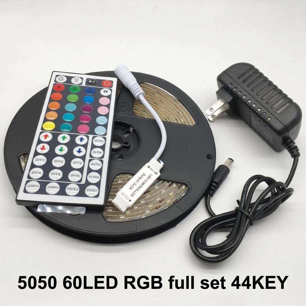 LED ストリップライト柔軟なダイオードリボンテープ DC 12V 1 メートル 2 メートル 3 メートル 4 メートル 5 メートル SMD 2835 5050 RGB 防水電源リモート照明 24Key 44Key