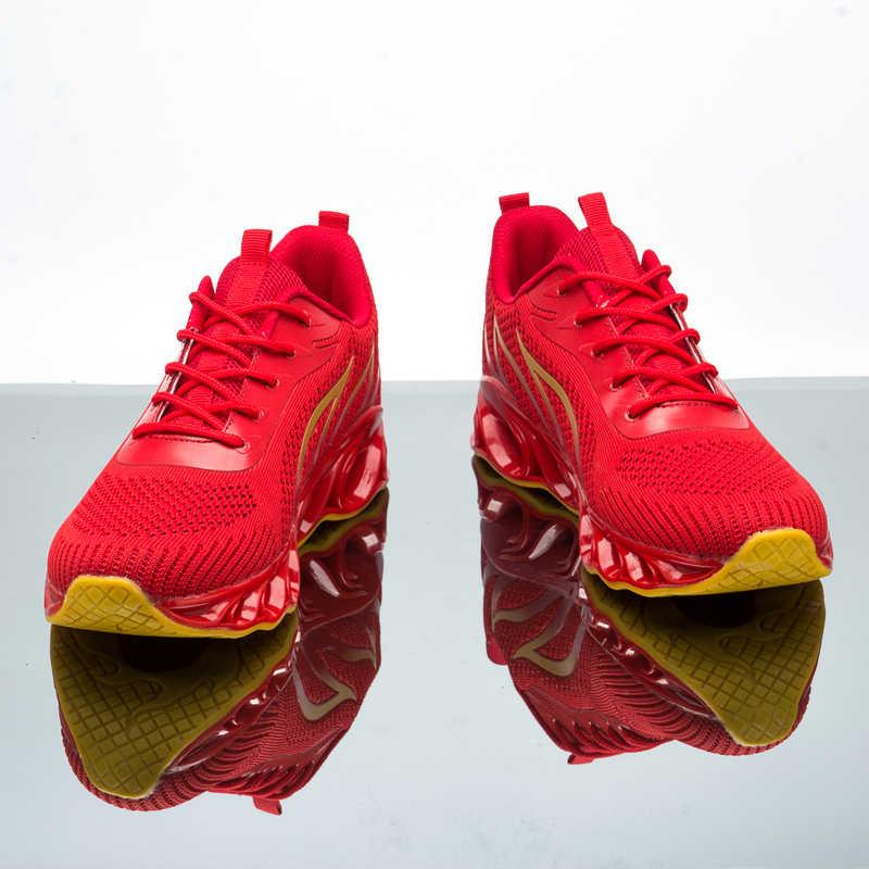 Erkekler bıçak ayakkabı alev tasarım koşu ayakkabıları erkek Sneakers yastıklama koşu spor ayakkabı açık eğitmenler ayakkabı spor Sneaker