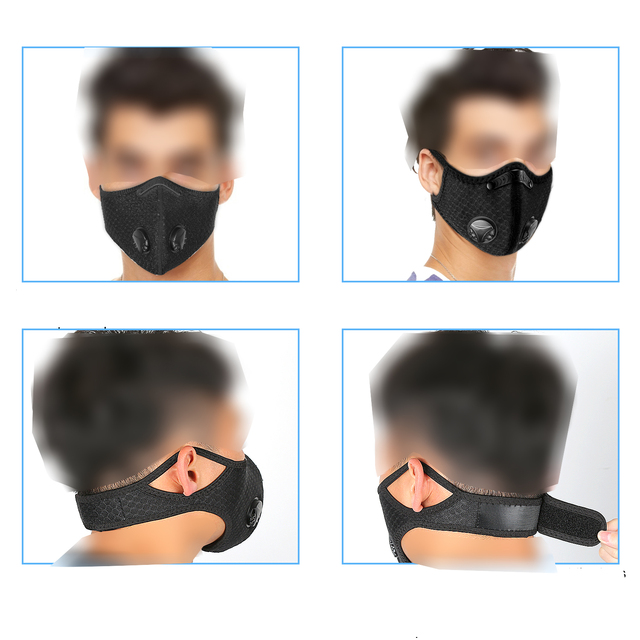 Sports/cycling mask flu facial masks anti pollution mask for running 95 level replaceable filter 5