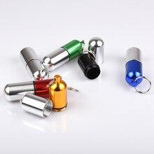 Keychain Container Bottle Drug-Holder Medicine-Box Waterproof Aluminum Case Cache Health-Care
