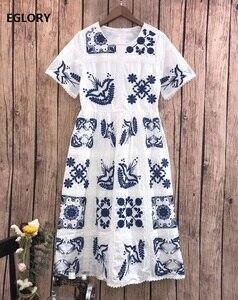 Высококачественное хлопковое платье 2020 летнее модное женское милое платье до середины икры с вышитыми птицами и коротким рукавом белого и ...