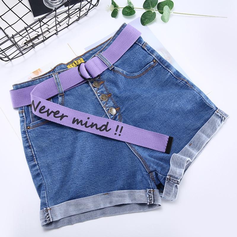 TagerWilen ремень стиль буквы напечатаны мода унисекс двойное D Кольцо холст ремень длинные джинсы ремни для женщин брезентовый мужской ремень - Цвет: Never-Purple