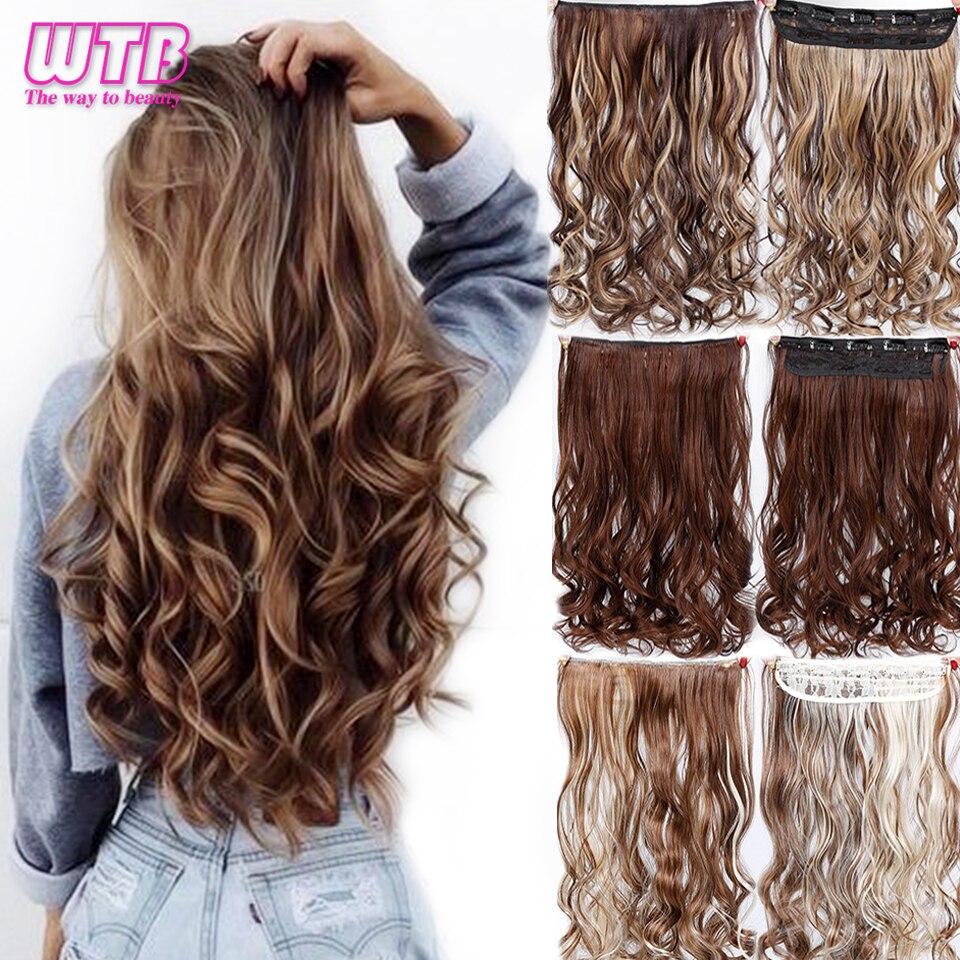 Wtb 60cm longo ondulado 5 clipe em uma peça extensões de cabelo alta tempreture sintético preto marrom para as mulheres hairpieces