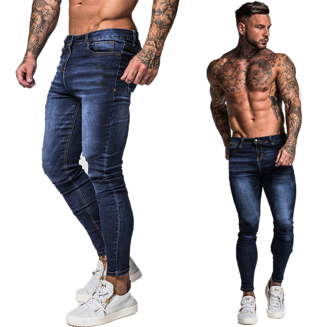 GINGTTO Jeans Men Elastic Waist Skinny Jeans   5