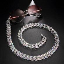 Teamer – chaîne de lunettes de soleil en acrylique blanc perle pour femmes, lanières, sangles, accessoires antidérapants, support de cou