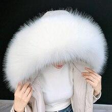 Lady Blinger очень большой меховой воротник из искусственного лисьего меха зимняя парка пальто капюшон меховой Декор DIY искусственный мех пальто енот меховой воротник меховые шарфы