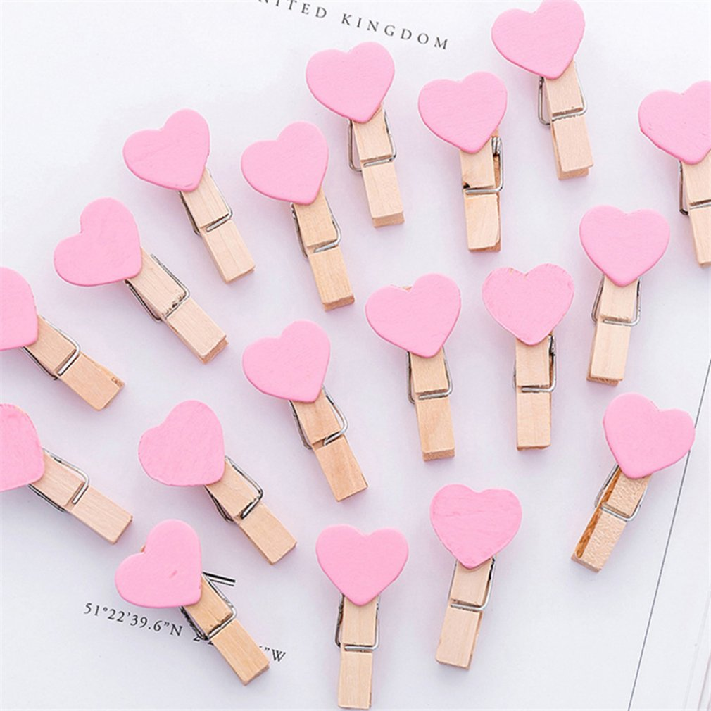 1pc Mini Cute Heart Love Wooden Clothes Photo Paper Peg Pin Clothespin Craft Postcard Clips Home Wedding Decoration