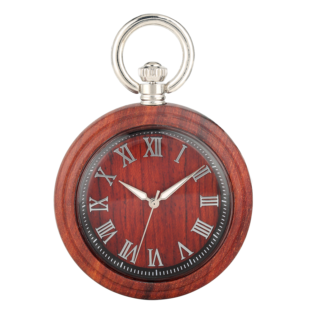 Classic Wooden Pocket Watch Large Light Brown Dial Pocket Watches Practical Detachable Rough Chain Pendant Watch