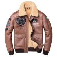 HARLEY DAMSON Brown Men Winter Pilot Shearling Coat Plus Size XXXXL Genuine Thick Russian Slim Fit Aviator Leather Fur Coat