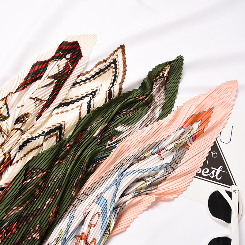 Hot Sale Organ Pleated Small Square Scarf Four Seasons Art Retro New Wild Decoration Fashion Small Scarf Size 55 * 55cm