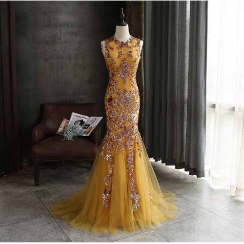 Gold Pleat Sequined Spaghetti Strap Mermaid   Prom     Dresses   Simple O-neck Sleeveless Floor Length Evening Gown vestidos de gala