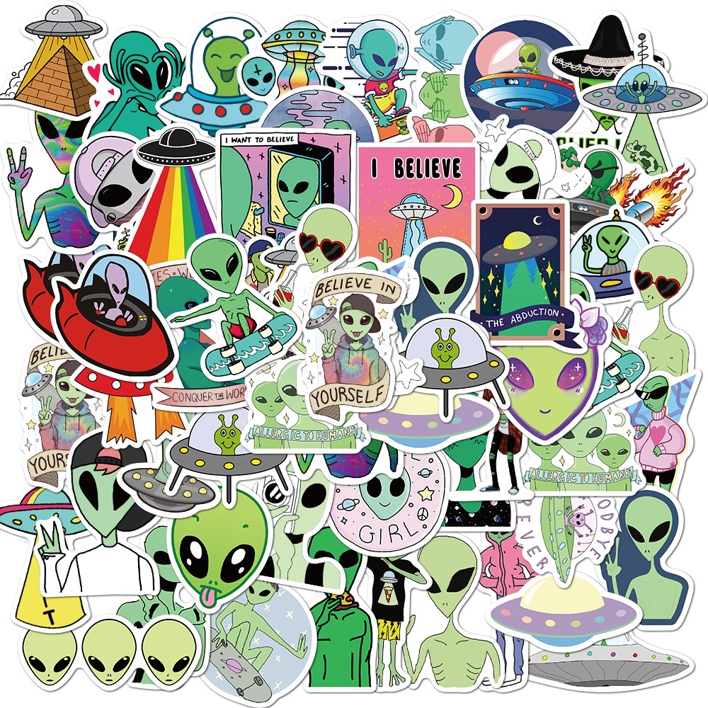 50Pcs Pack ET Graffiti <font><b>Stickers</b></font> Alien <font><b>UFO</b></font> <font><b>Stickers</b></font> For Children DIY Skateboard Luggage Suitcase Laptop Motorcyle Car Pegatinas image