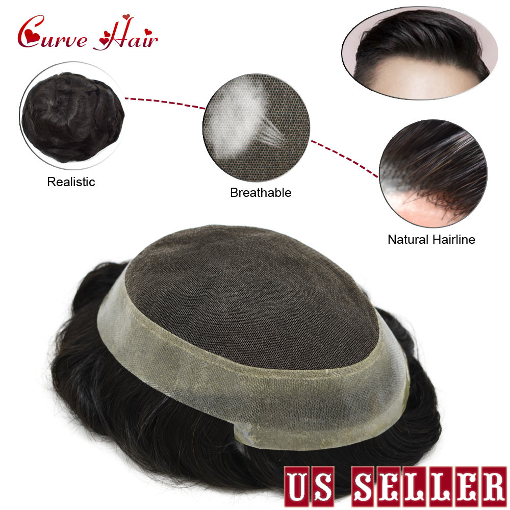 French Lace Human Hair Toupee For Men 1B Off Black French Lace With Clear Poly All Around